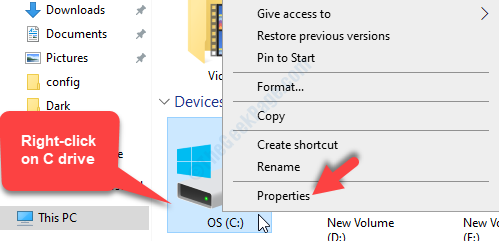 This Pc C Drive Right Click Properties