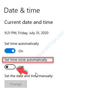 Time & Language Date & Time Set Time Zone Automaticaly Turn Off