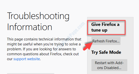 Troubleshooting Information Give Firefox A Tune Up Refresh Firefox