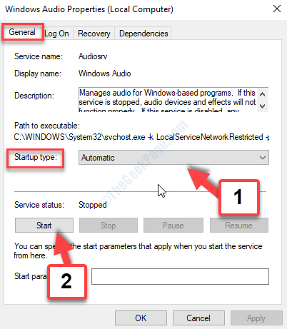 Windows Audio Properties General Tab Satrtup Type Automatic Service Status Start