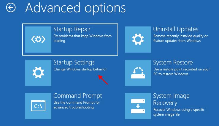 Advanced Options Startup Repair Startup Settings 111
