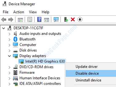 Disable Device Intel