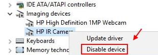 Disable Ir Camera Min