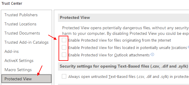 Disable Protected View Excel Min