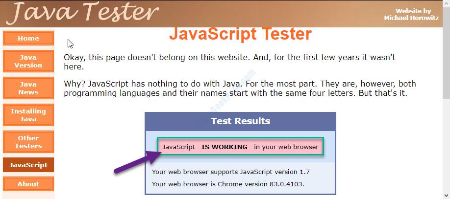 Javascript Working