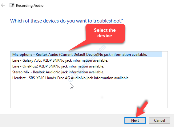 Select Device From The List You Want To Troubleshoot Next