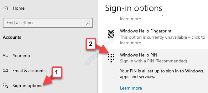 Accounts Sign In Options Windows Hello Pin