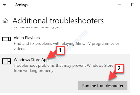 Addidional Troubleshooters Find And Fix Other Problems Windows Store Apps Run The Troubleshooter