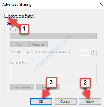 Advanced Sharing Share This Folder Uncheck Apply Ok
