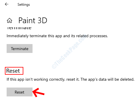 Advanced Options Reset Reset Button