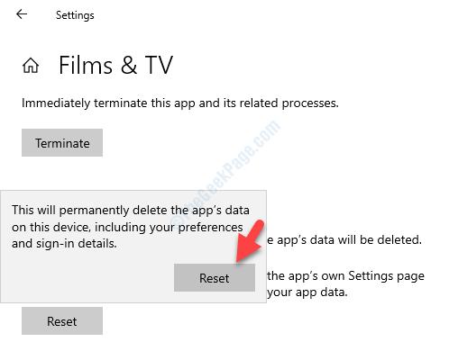 App Reset Reset Button Warning Box Reset