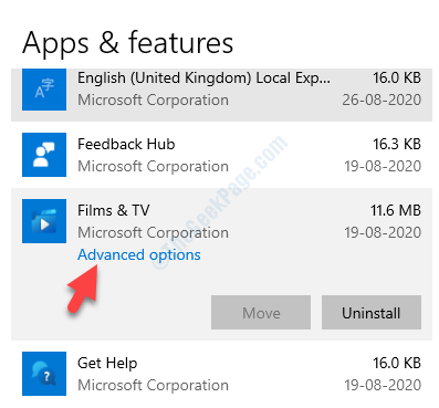 Apps Apps & Features Find The Problem App Advanced Options