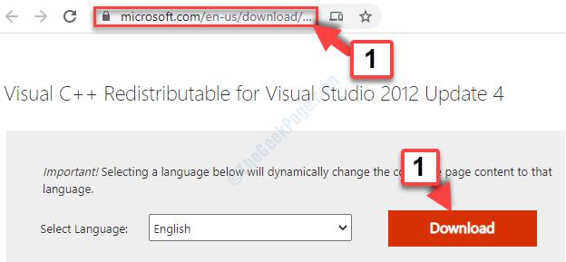 Browser Copy & Paste Link Enter Visual C++ Redistributable Download