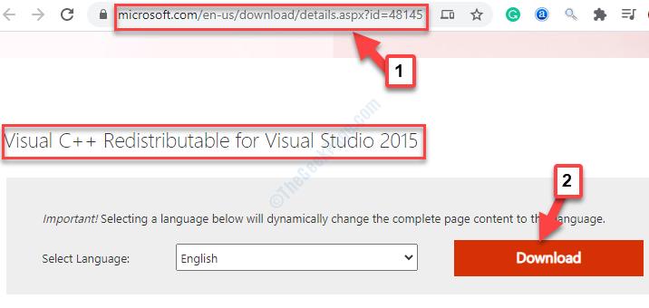 Browser Microsoft Link Visual C++ Redistributable For Visual Studio 2015 Download