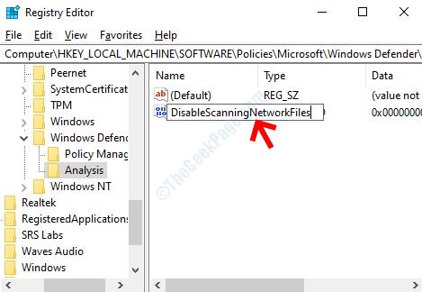 Dword (32 Bit) Value Rename Disablescanningnetworkfiles