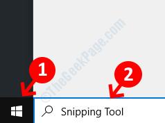 Desktop Start Search Snipping Tool