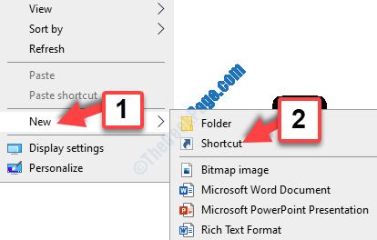 Desktop Right Click New Shortcut