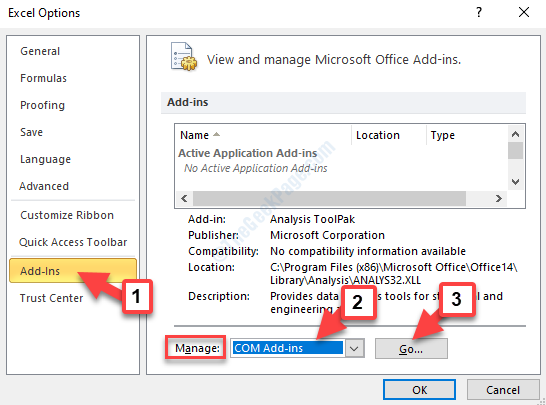 Excel Options Add Ins Manage Com Add Ins Go