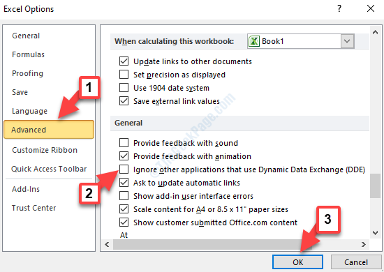 Excel Options Advanced General Ignore Other Applications That Use Dynamic Data Exchange (dde) Uncheck