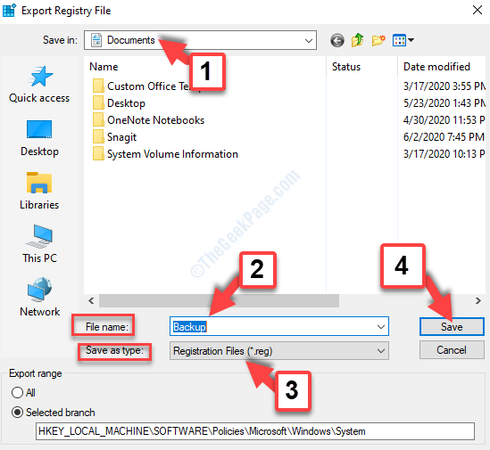 Export Registry File Select Location File Name Backup Save As Type Registration Files Save