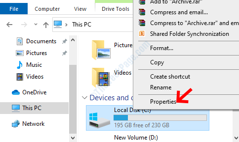 File Explorer Right Side C Drive Right Click Properties