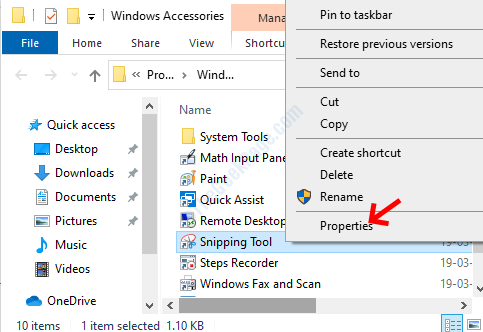 File Location Snipping Tool Right Click Properties