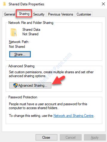 Folder Properties Sharing Tab Advanced Sharing