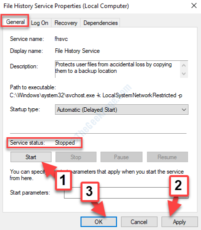 Function Discovery Properties General Tab Service Status Stopped Start Button Apply Ok