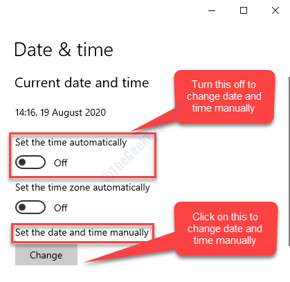 If Set The Time Automatically Off Set The Date And Time Manually Change