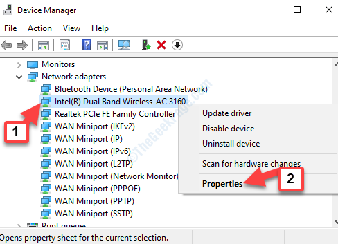 Locate Network Adapter Right Click Properties