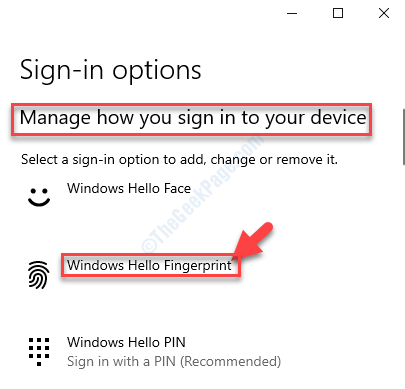 Manage How You Sign In To Your Device Windows Hello Fingerprint