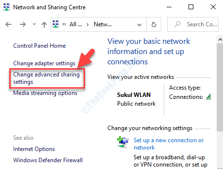 Network And Sharing Centre Left Side Change Advanced Sharing Settings