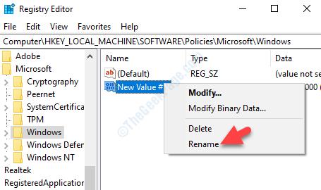New Dword Value Right Click Rename