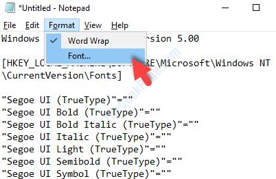 Notepad Format Font