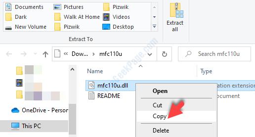 Open Zip Folder File Explorer Dll File Right Click Copy