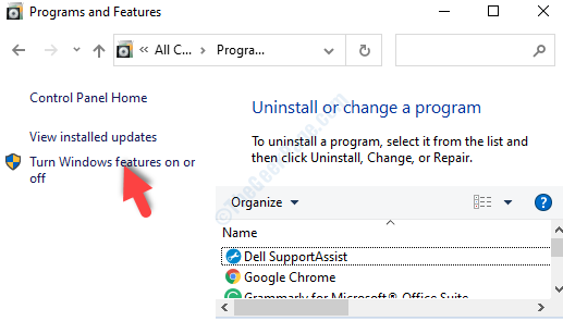 Programs And Features Turn Windows Features On Or Off