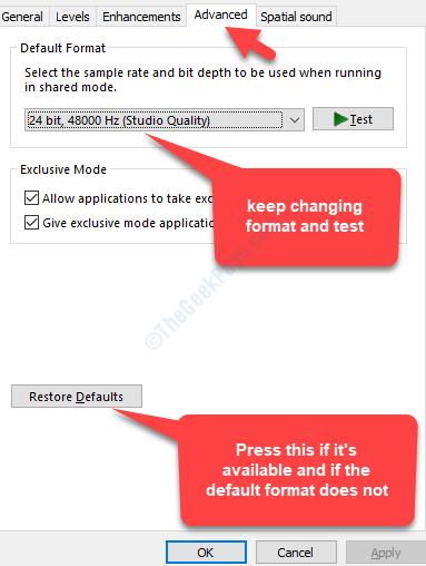 Properties Advanced Tab Change Default Format Test Restore Defaults