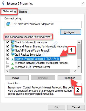 Properties Window Networking Tab Internet Protocol Version 4 Properties