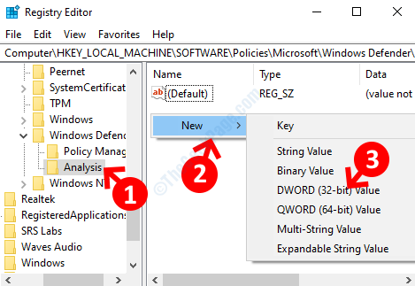 Rename New Key Analysis Empty Space On Right Right Click New Dword (32 Bit) Value