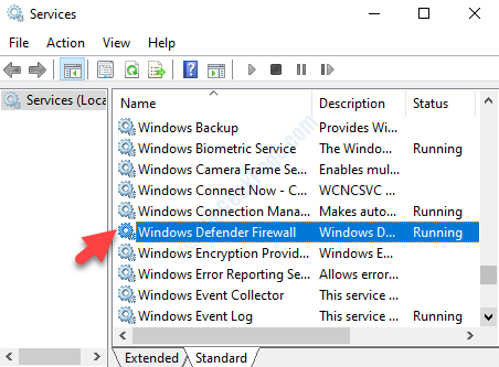 Services Name Windows Defender Firewall