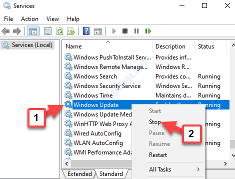 Services Windows Update Right Click Stop