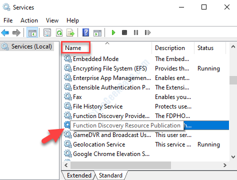 Services Right Side Name Column Function Discovery Resource Publication