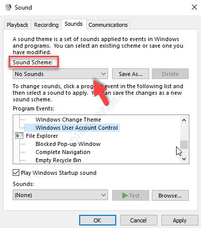 Sound Window Sounds Tab Sound Scheme No Sounds Apply Ok
