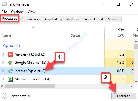 Task Manager Processes Internet Explorer End Task