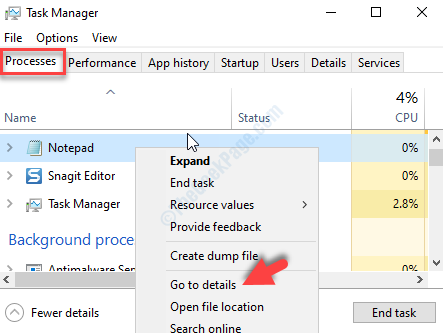 Task Manager Processes Tab Right Click On Task Go To Details