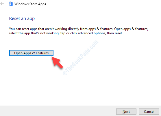 Troubleshoot Wizard Reset An App Open Apps & Features
