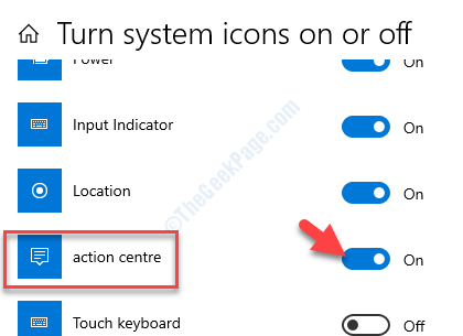 Turn System Icons On Or Off Action Center Turn On