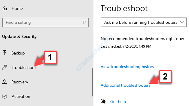 Update & Security Troubleshoot Additional Troubleshooters