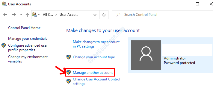 User Accounts Manage Another Account