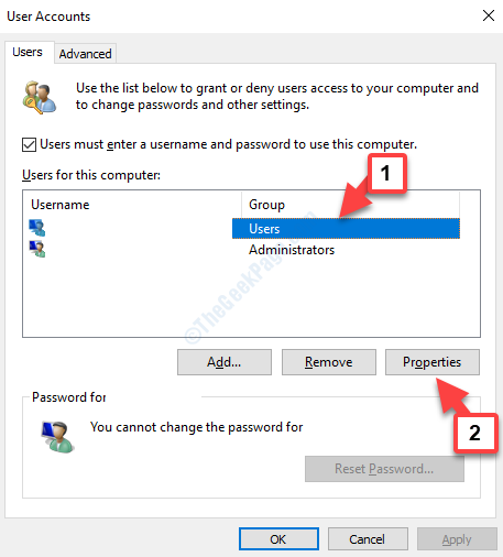 User Accounts Users For This Computer New Account Properties